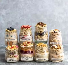 Overnight Oats - 8 Ways - simple no-cook make-ahead oatmeal just perfect for bus. - - All and more in Overnight Oats - 8 Ways - simple no-cook make-ahead oatmeal just perfec Overnight Oats Receita, Overnight Oats With Yogurt, Best Overnight Oats Recipe, Easy Overnight Oats, Peanut Butter Overnight Oats, Overnight Oats Mason Jar, Mason Jar Oatmeal, Pumpkin Overnight Oats, Strawberry Overnight Oats