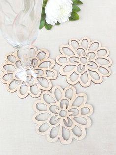 Wood Coasters Set of 4 - Coasters - Flower Design - Laser Cut Wood Coaster - Rustic Wedding Decor - Rustic Wooden Coaster
