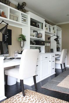Home office- craft room- reveal- home office space- craft supply storage ideas- One Room Challenge- renovation- home tour- office makeover- One Room Challenge Reveal Week farmhouse style office- neutral decor- built in shelving- styling shelves<br> Home Office Storage, Home Office Organization, Home Office Space, Home Office Desks, Small Office, Organization Ideas, Office Shelf, Kitchen Storage, Kitchen Shelves