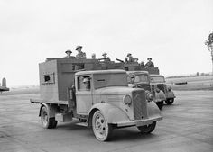 Armadillo Mk1's - RAF personnel man armoured trucks used for airfield defence at Wyton, Cambridgeshire, July 1940