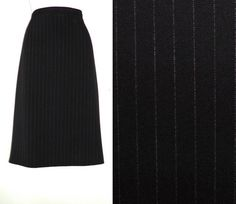 VTG 90s ST MICHAEL M&S High Waisted Pinstripe Winter Midi Office Skirt 12 14 W33