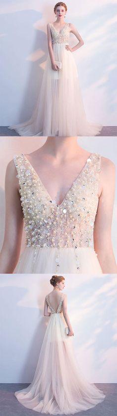 Champagne v neck tulle long prom dress, formal dress, champagne tulle evening dress