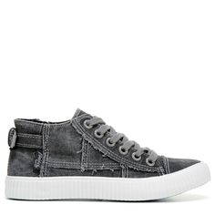 Blowfish Women's Cora Lace Up Mid Top Sneakers (Black Canvas)