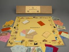 "Charles Darrow Hand-Colored ""Tie-Box"" Monopoly Set, 1933. This original Darrow set is part of The Strong's permanent collections"