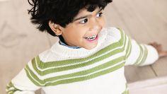 Mönster stickad barntröja med söta ränder