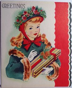 1940s card with a  young woman in a holiday hat and fur-trimmed coat carrying a wrapped present.