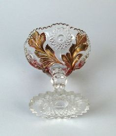 Millersburg Crystal Glass | Millersburg Hobstar Feather Crystal Compote with Goofus Treatment ...