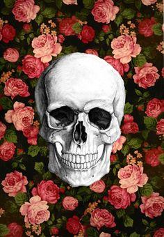 skull + flowers