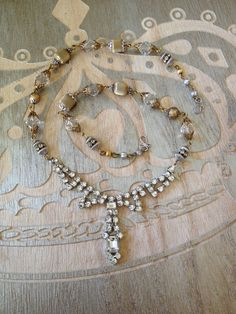 Vintage rhinestone assemblage necklace #1, upcycle recycle repurpose, recycled vintage jewelry, boho