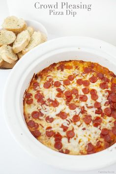 Crowd Pleasing Pizza Dip Recipe! The perfect appetizer! Grab the recipe on Capturing-Joy.com!