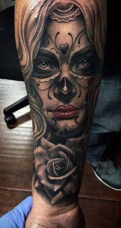 Tattoo Girls, Skull Girl Tattoo, Girl Face Tattoo, Tattoo For Baby Girl, Girl Tattoos, Tattoos For Guys, Tattoo Baby, Hand Tattoos, Forarm Tattoos