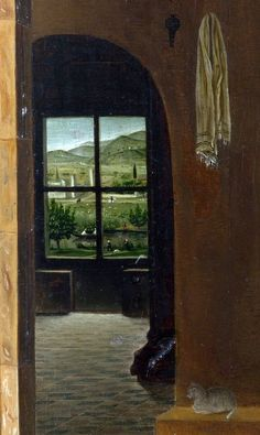 St. Jerome in His Study, Antonello da Messina  c. 1474-1475  Oil on wood  45.7 cm × 36.2 cm (18.0 in × 14.3 in) detailNational Gallery, London
