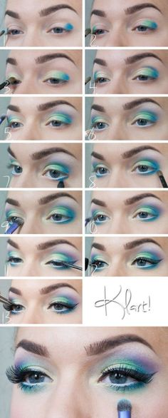 Gorgeous look with blue & purple eye shadow by Linda Hallberg.