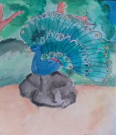Watercolor painting by an 11 year old artist Watercolor Paintings, Night, Artwork, Artist, Fun, Watercolour Paintings, Work Of Art, Auguste Rodin Artwork, Watercolor Drawing