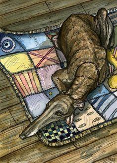 Un petit chien Art méditantGreyhound Print par AlmostAnAngel66