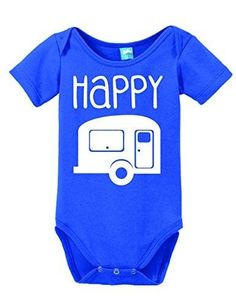 e225ae5b21 Happy Camper Onesie Funny Bodysuit Baby Romper Royal 18-24 Month