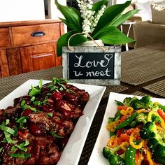Dinner for 2 tonight!  Grilled lamb chops in a fresh cherry, mint and Cabernet reduction, served with a ginger sesame stir fry. Hope your week is off to a great start! @zimmysnook