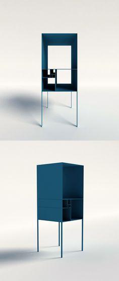 fibonacci shelf - variable; This design is composed of seven units, six metal frames opened on both sides (55cm, 34cm, 21cm,13cm, 8cm, 5cm in leng…