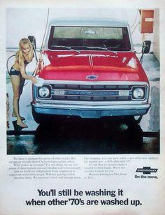 Vintage '70 Chevy Pickup Ad w/hot bikini girl Car Wash