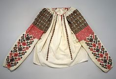 Romanian Blouse Date: early century Culture: Romanian Medium: cotton, metal, glass Dimensions: Length at CB: 23 in. cm) Credit Line: Gift of Gregoire Cavafu in memory of his mother Armenouhi Edirnelian-Cavafu, Romania, 1986 Accession Number: Mode Alternative, Folklore, Folk Embroidery, Embroidery Patterns, Costume Institute, Textiles, Folk Costume, Historical Clothing, Patch