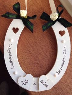 Personalised Wooden Wedding Horseshoe With Organza And Pearl Diamante Slider Buckle