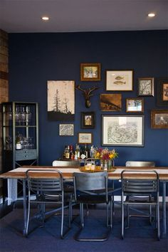 00 Sneak A Peek // Kate's Industrial Chic Living Room Highland Park Home Tour in Los Angeles: Rustic Farmhouse Modern Dining Room Table Dining Room Blue, Dining Room Walls, Dining Area, Dining Decor, Small Dining, Dining Chairs, Navy Blue Living Room, Blue And Copper Living Room, Room Chairs