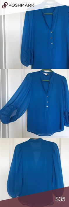 """Diane Von Furstenburg Blue Blouse DVF gorgeous blouse. Size 4 - bell sleeves. Org purchased at Saks Fifth Ave. It's in perfect condition except for some small thread pulls on the right sleeve. See photo for details. 13"""" shoulders - 17"""" pit to pit - 26"""" length  No lowball offers. Trying to raise money for our dog's medical bills. Quick shipping and 5 star seller! ⭐️⭐️⭐️⭐️⭐️ Diane von Furstenberg Tops Blouses"""