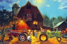 Antique Farm Tractor Pull | Dave Barnhouse Old Farm Tractor Pull Print The Rematch 18 x 12 | eBay