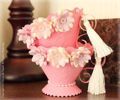 $Fleurs de Papier ~クラフトパンチや花紙で作る立体のお花いろいろ~-クラフトパンチで立体のお花のカード
