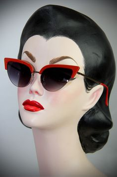 50's style Thunderbird Red Cat Eye Sunglasses at Deadly is the Female. The perfect way to add some kitsch atomic style to your pinup look.