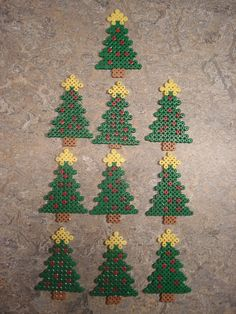 DIY pic only - Christmas tree ornaments hama perler beads by Edvind Medvind - pinning for pattern Christmas Perler Beads, Beaded Christmas Ornaments, Noel Christmas, Handmade Christmas, Perler Bead Designs, Hama Beads Design, Diy Perler Beads, Fuse Bead Patterns, Perler Patterns