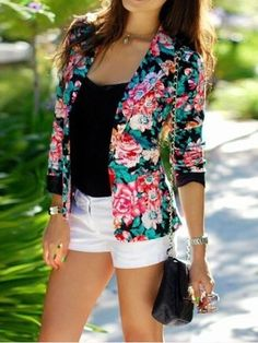 Notched Collar Floral Long Sleeve Casual Blazer