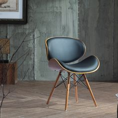 Corvus Madonna Walnut and Black Finished Contemporary Bent Look 30-inch Mid-century Style Chair