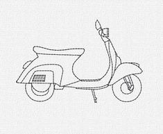 Vespa Machine Embroidery Design Download 4x4 5x7 Modern Redwork Scooter Machine Embroidery Pattern on Etsy, $3.25