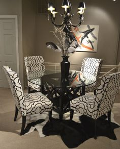 Designmaster Hillsdale Side Chairs In A Black And White Geometric Trellis  #hpmkt Designmaster Furniture