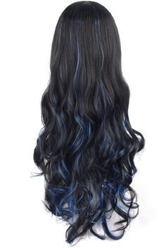 Amazon.com : MapofBeauty Multi-color Lolita Long Curly Clip on Ponytails Cosplay Wig (Black/ Blue) : Beauty