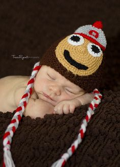 FREE SHIPPING Ohio State Buckeyes newborn/ baby hat. Perfect baby shower gift or photography prop. $26.00, via Etsy.