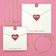 """Simply Stated """"love"""" bracelet and necklace. Available in silver and gold."""