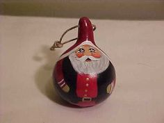 Tiny Handpainted Folkart Santa Gourd Ornament