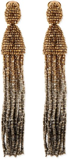 Oscar de la Renta Long Ombre-Beaded Tassel Earrings, Golden on shopstyle.com