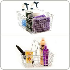 A solution for many needs, these chrome handled baskets offers convenient storage for linens or bathroom necessities as well as the ability to be utilized for grocery shopping.Constructed of wire chrome, the perforated design and sturdy handles allow for lightweight mobility. Use it in the kitchen for easy access to pantry items or bungee cord it to a bike. Nest multiple baskets when they are not in use.