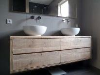 Steigerhouten badkamer meubels | de Steigeraar steigerhout in de baskamer