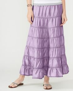 Silk Tiered Maxi Skirt