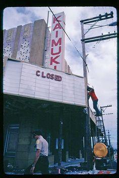 Tearing down the old Kaimuki theater, Oahu, Hawaii