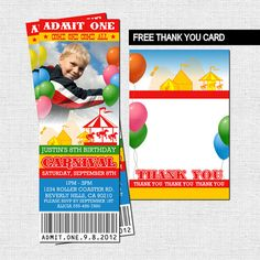 CARNIVAL TICKET INVITATIONS Circus Birthday Party + FREE THANK YOU CARD (printable files) - by nowanorris on Etsy