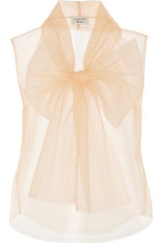 Lanvin Glitter-finished tulle top | NET-A-PORTER