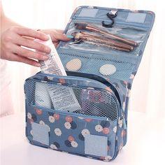 Pendurado grande saco de cosmética Necessaire de viagem senhoras higiene pessoal bolsa Zipper organizador de bolsa compõem sacos bolsas de lona de maquiagem