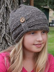 Tunisian Crochet Slouch Hat with Button Detail pattern by Kismet Crochet