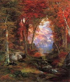 """The Autumnal Woods"" or ""Under the Trees"" (1865) by Thomas Moran (b. 12 February 1837; Bolton, Lancashire, England – d. 25 August 1926; Santa Barbara, California, United States) Oil on canvas. Private collection https://commons.wikimedia.org/wiki/File:Thomas_Moran_-_Under_the_Trees.jpg https://en.wikipedia.org/wiki/Thomas_Moran"
