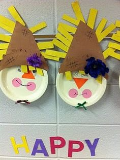 Paper Plate Scarecrows @rachel peterson, @beth levin - we should do these as our craft for our party